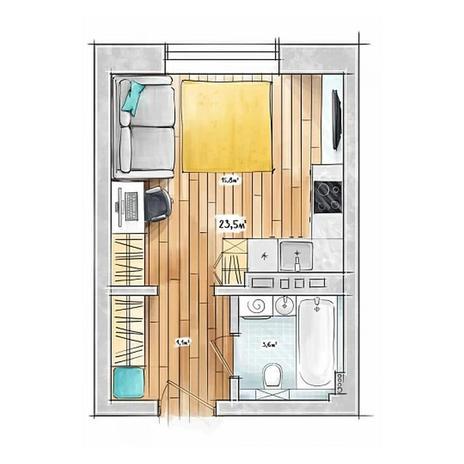 Вариант №3953, 1-комнатная квартира в жилом комплексе БонАпарт
