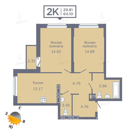 Вариант №1355, 2-комнатная квартира в жилом комплексе