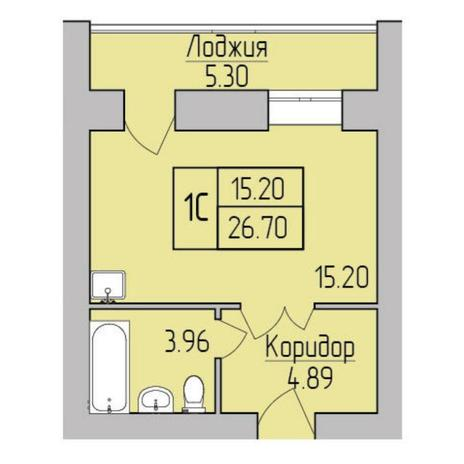 Вариант №5357, 1-комнатная квартира в жилом комплексе