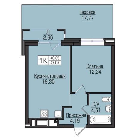 Вариант №5064, 2-комнатная квартира в жилом комплексе Цивилизация