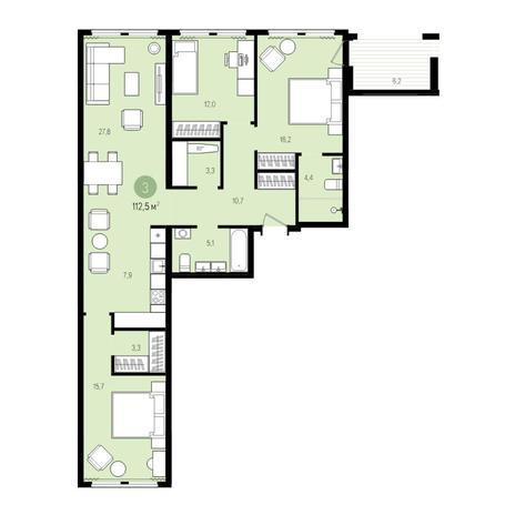 Вариант №5003, 4-комнатная квартира в жилом комплексе Пшеница