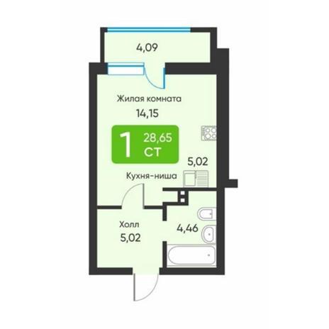 Вариант №5882, 1-комнатная квартира в жилом комплексе
