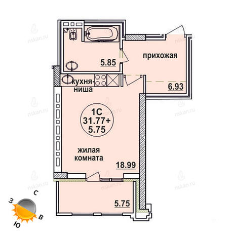 Вариант №623, 1-комнатная квартира в жилом комплексе Заельцовский
