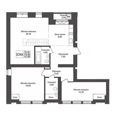 Вариант №3162, 3-комнатная квартира в жилом комплексе