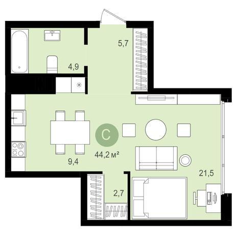 Вариант №4162, 2-комнатная квартира в жилом комплексе Акварельный 3.0