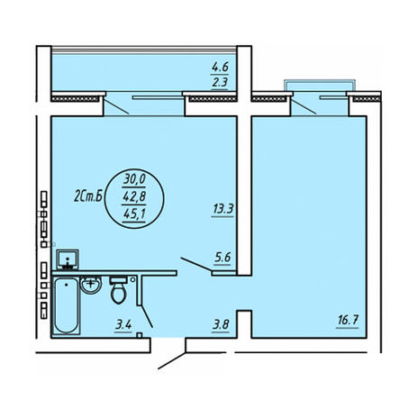 Вариант №3589, 2-комнатная квартира в жилом комплексе