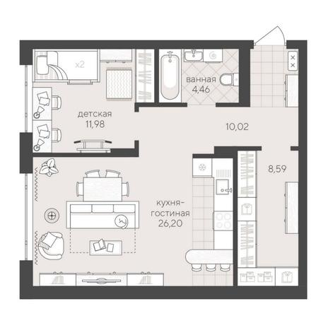 Вариант №6234, 2-комнатная квартира в жилом комплексе
