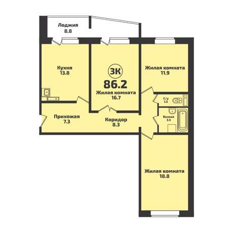 Вариант №4957, 3-комнатная квартира в жилом комплексе Инфинити