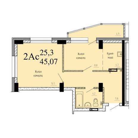 Вариант №6528, 2-комнатная квартира в жилом комплексе