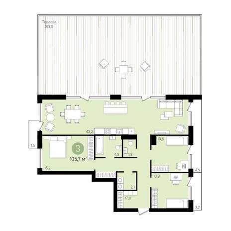 Вариант №3296, 3-комнатная квартира в жилом комплексе Европейский Берег