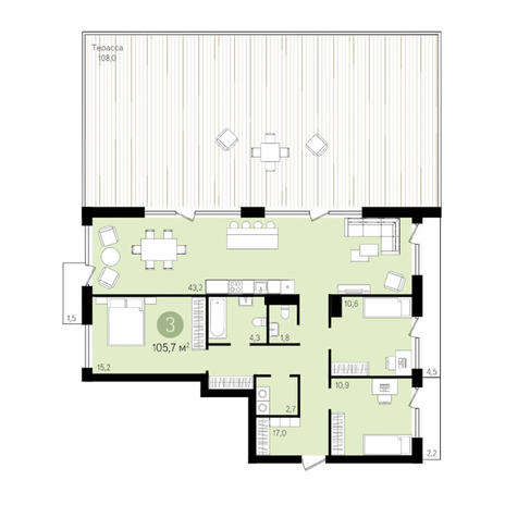 Вариант №3296, 3-комнатная квартира в жилом комплексе