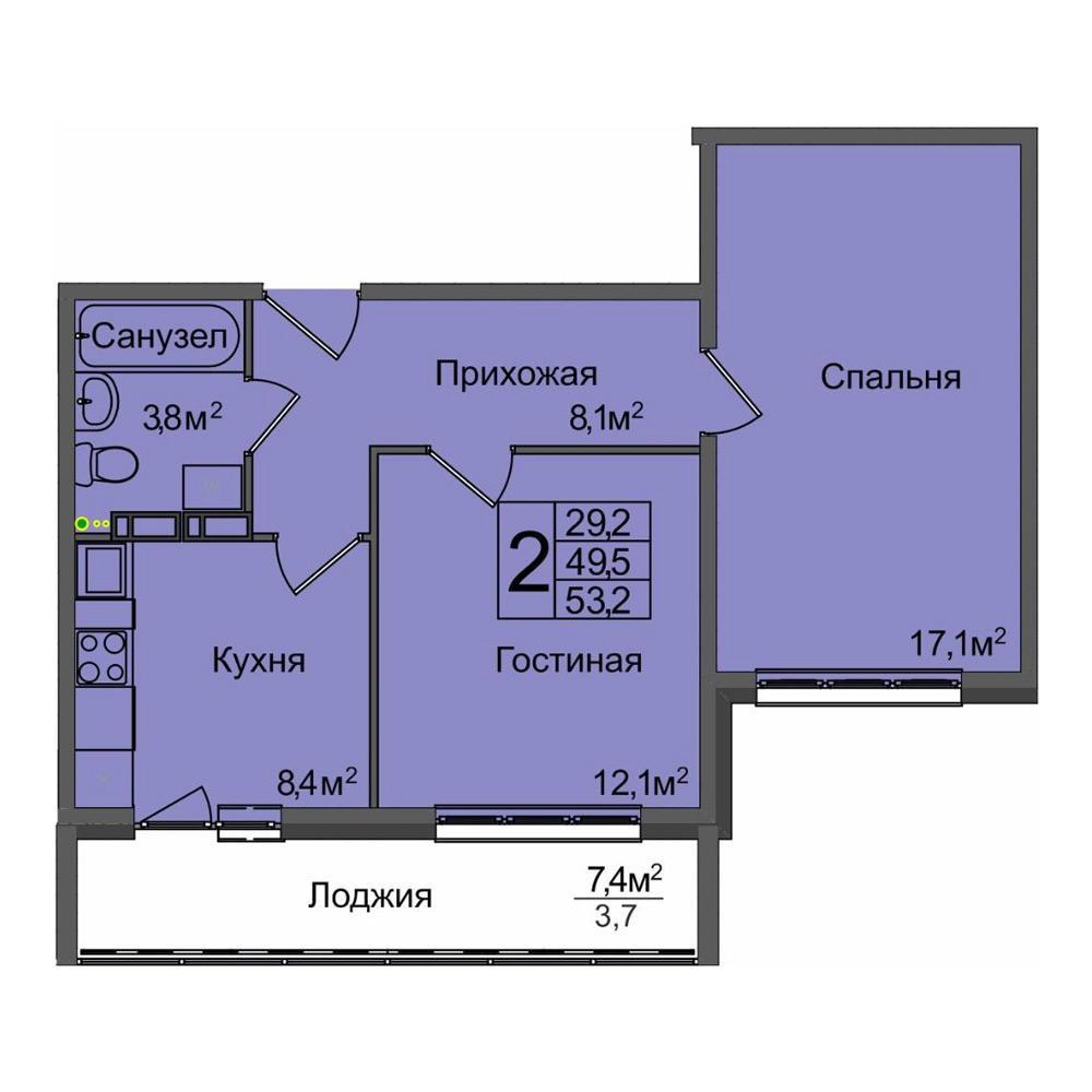 Планировка 2-комнатная площадью 53.2 м<sup>2</sup> в ЖК Венеция