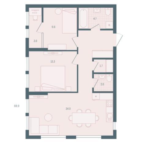 Вариант №5926, 2-комнатная квартира в жилом комплексе