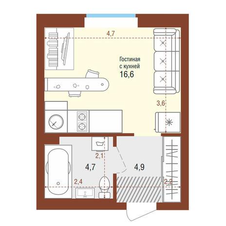 Вариант №4195, 1-комнатная квартира в жилом комплексе Акварельный 3.0