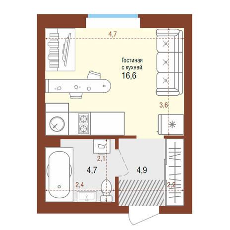 Вариант №4195, 1-комнатная квартира в жилом комплексе