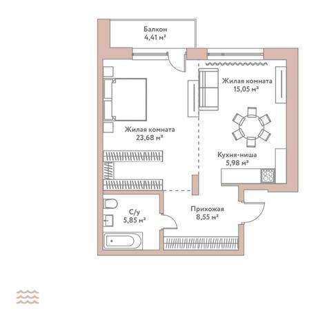 Вариант №5795, 2-комнатная квартира в жилом комплексе