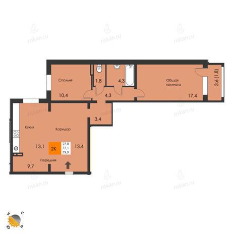 Вариант №2297, 3-комнатная квартира в жилом комплексе