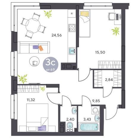 Вариант №5416, 3-комнатная квартира в жилом комплексе