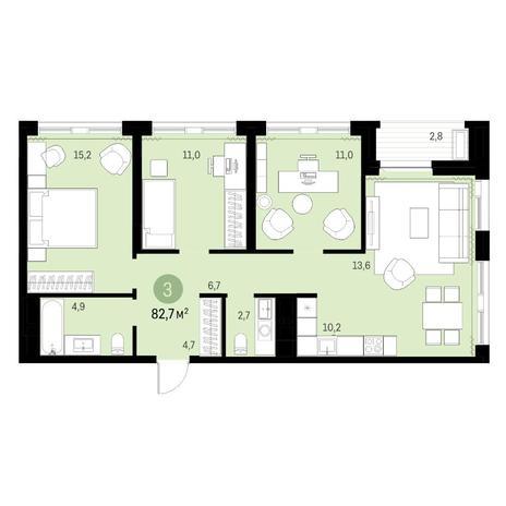 Вариант №6327, 4-комнатная квартира в жилом комплексе