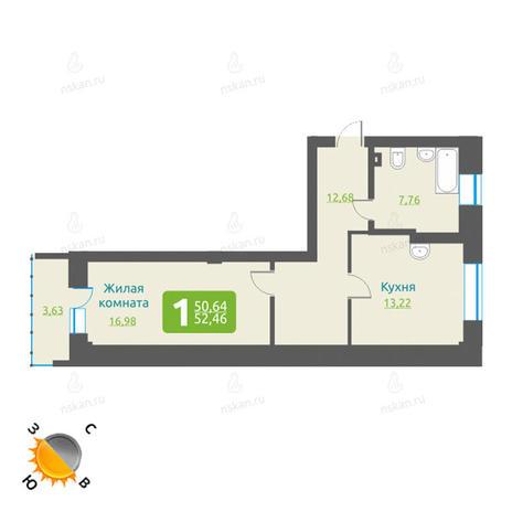 Вариант №1194, 1-комнатная квартира в жилом комплексе Марсель