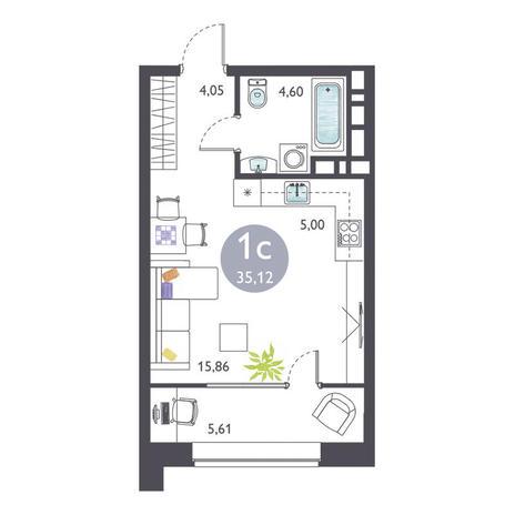 Вариант №3365, 1-комнатная квартира в жилом комплексе Ясный берег