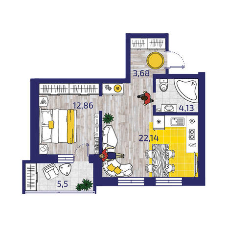 Вариант №3723, 2-комнатная квартира в жилом комплексе Облака