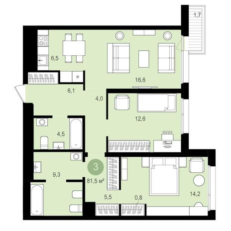 Вариант №4354, 3-комнатная квартира в жилом комплексе