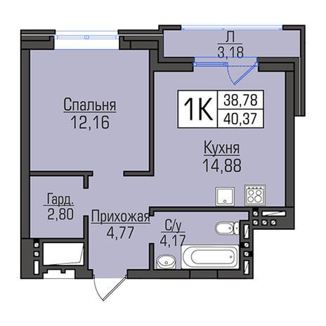 Вариант №2959, 1-комнатная квартира в жилом комплексе Акварельный 3.0