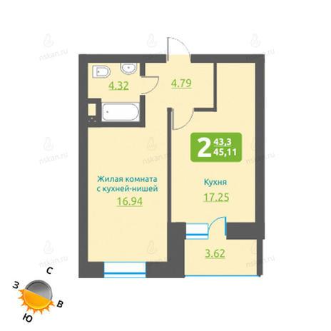 Вариант №1222, 2-комнатная квартира в жилом комплексе Марсель
