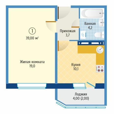 Вариант №6079, 1-комнатная квартира в жилом комплексе