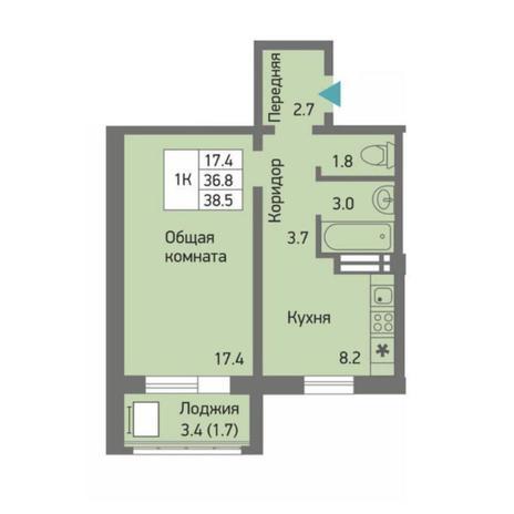 Вариант №4513, 1-комнатная квартира в жилом комплексе Акварельный 3.0