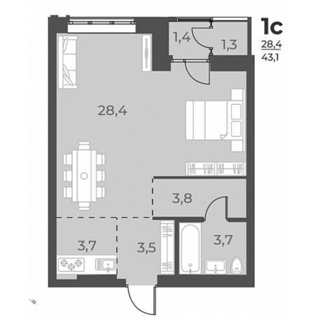 Вариант №5824, 1-комнатная квартира в жилом комплексе