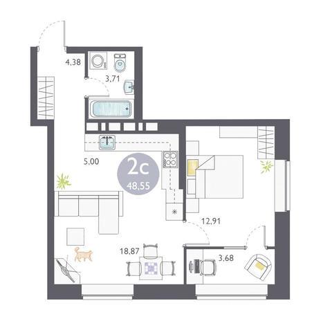 Вариант №3360, 2-комнатная квартира в жилом комплексе Аквамарин