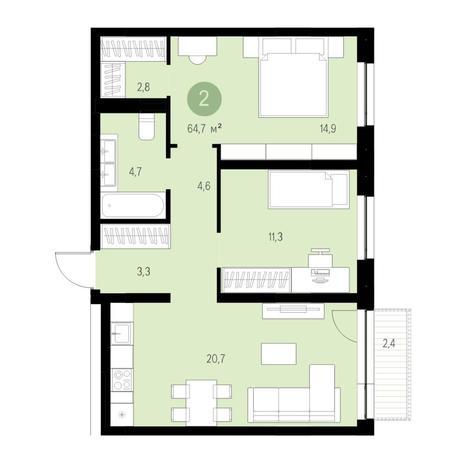 Вариант №4714, 3-комнатная квартира в жилом комплексе