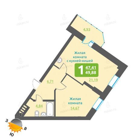Вариант №1209, 2-комнатная квартира в жилом комплексе Марсель