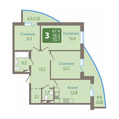Вариант №3044, 3-комнатная квартира в жилом комплексе