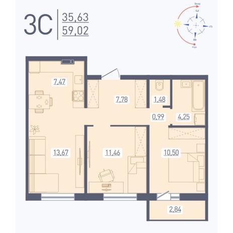 Вариант №5580, 3-комнатная квартира в жилом комплексе Сокольники