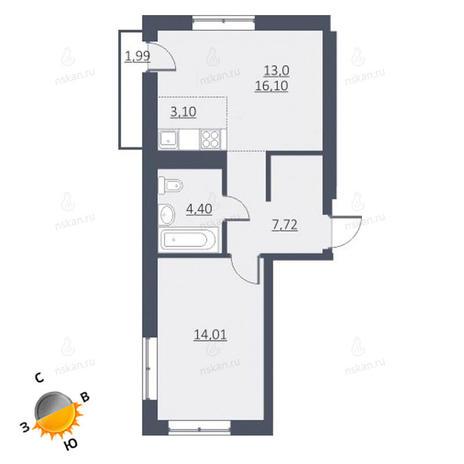 Вариант №1657, 2-комнатная квартира в жилом комплексе Дунаевский
