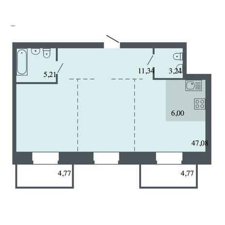 Вариант №4488, 3-комнатная квартира в жилом комплексе Спектр