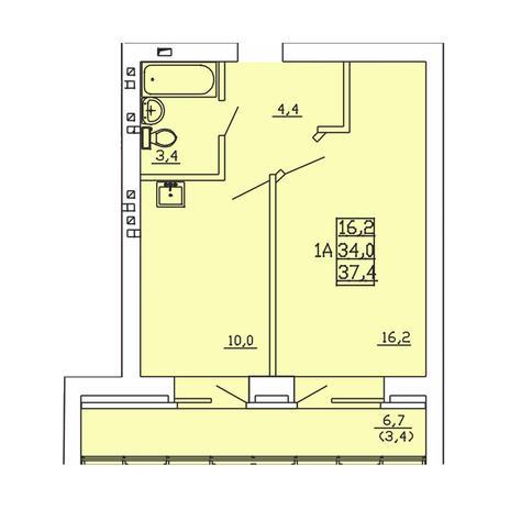 Вариант №3998, 1-комнатная квартира в жилом комплексе