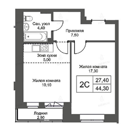 Вариант №2743, 2-комнатная квартира в жилом комплексе Революция