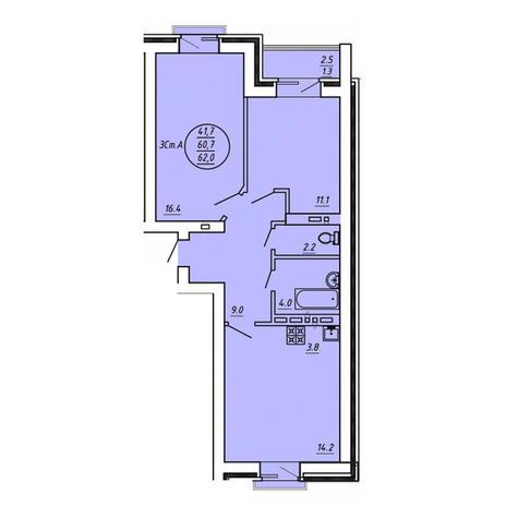 Вариант №3606, 3-комнатная квартира в жилом комплексе