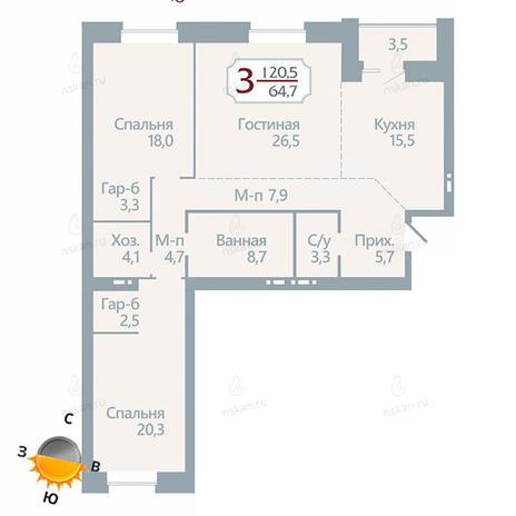 Вариант №1753, 3-комнатная квартира в жилом комплексе Бульварный переулок