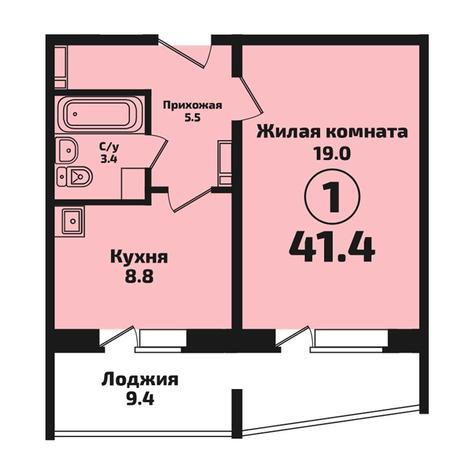 Вариант №4574, 1-комнатная квартира в жилом комплексе