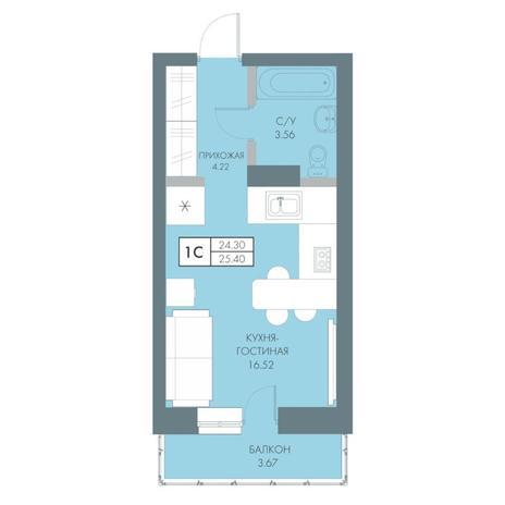 Вариант №4231, 1-комнатная квартира в жилом комплексе Крымский