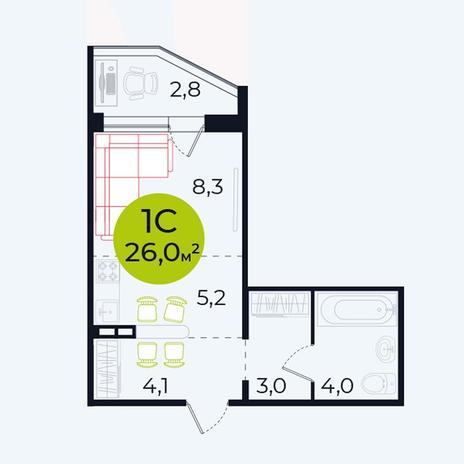 Вариант №4104, 1-комнатная квартира в жилом комплексе Весна