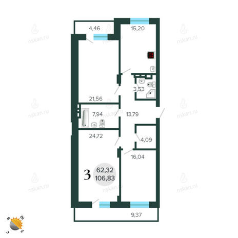 Вариант №2262, 4-комнатная квартира в жилом комплексе