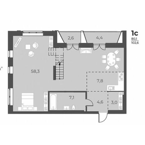 Вариант №5832, 1-комнатная квартира в жилом комплексе