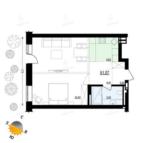 Вариант №880, 1-комнатная квартира в жилом комплексе Ясный берег