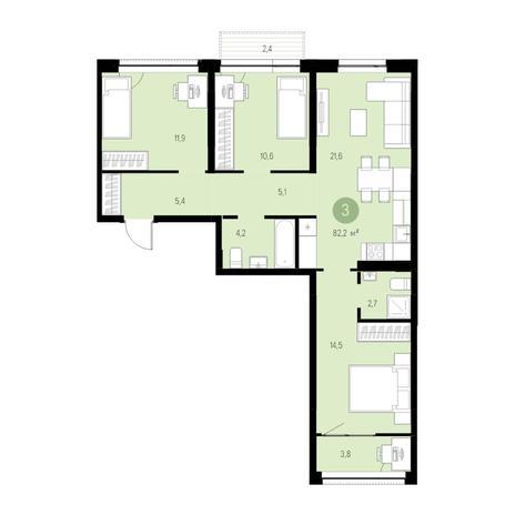 Вариант №4729, 4-комнатная квартира в жилом комплексе Европейский Берег